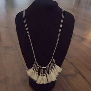 Anthropologie - Silver & Cream Tassel Necklace